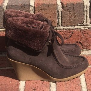 EUC brown wedge booties, 6M